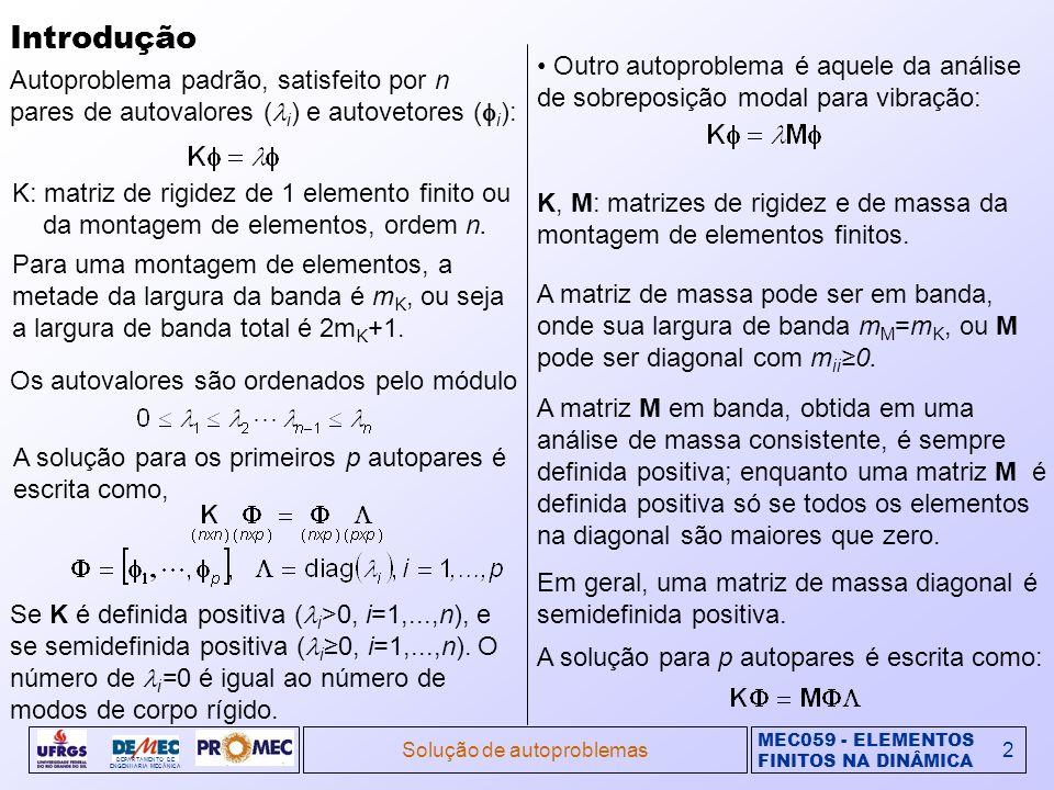 MEC059 - ELEMENTOS FINITOS NA DINÂMICA DEPARTAMENTO DE ENGENHARIA MECÂNICA Solução de autoproblemas3 Introdução (cont.) Outro autoproblema é aquele da análise de flambagem linearizado.