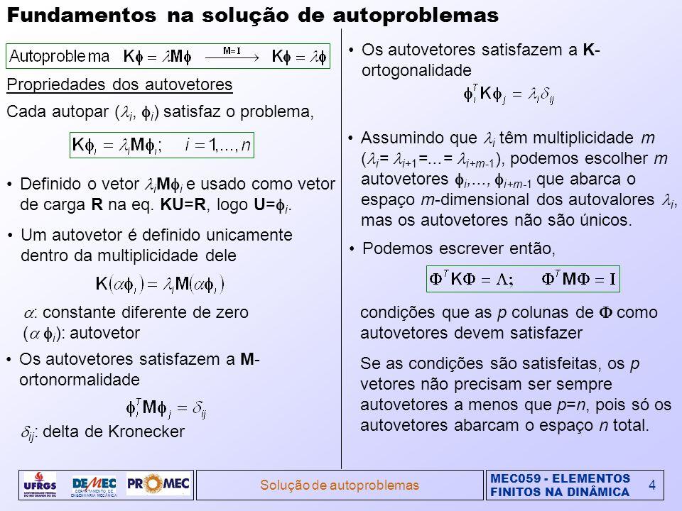 MEC059 - ELEMENTOS FINITOS NA DINÂMICA DEPARTAMENTO DE ENGENHARIA MECÂNICA Solução de autoproblemas4 Fundamentos na solução de autoproblemas Proprieda