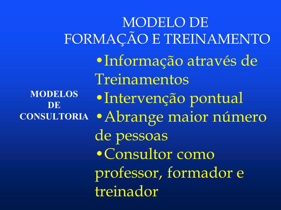 MODELOS DE CONSULTORIA MODELO DE PROCESSO Trabalho em parceria Cliente é reeducado Estímulo ao comprometimento Consultor – facilitador e educador. Sch