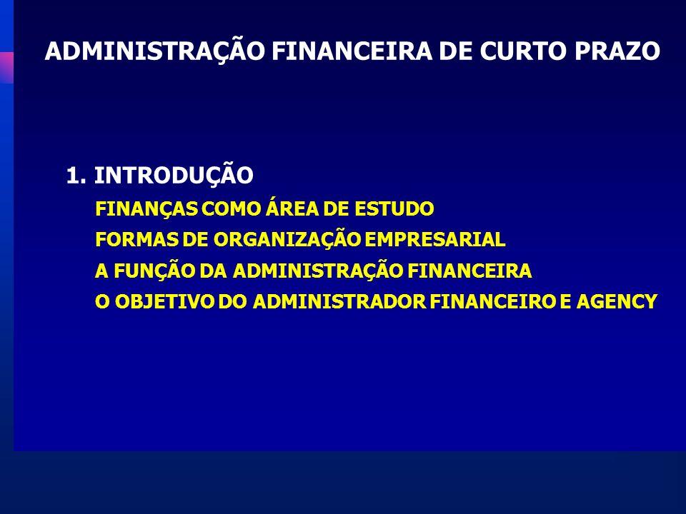 VISÃO GERAL DA ADMINISTRAÇÃO FINANCEIRA ADMINISTRAÇÃO DO CAPITAL DE GIRO Finanças de Curto Prazo INVESTIMENTO DE LONGO PRAZO Orçamento de Capital Estrutura de Capital Política de Dividendos FINANCIAMENTO DE LONGO PRAZO Custo de capital Finanças Corporativas FINANÇAS PESSOAIS FINANÇAS INTERNACIONAIS FINANÇAS EMPRESARIAIS FINANÇAS PÚBLICAS