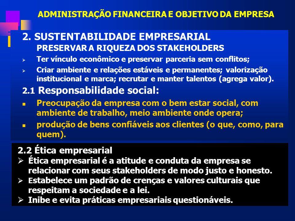 ADMINISTRAÇÃO FINANCEIRA E OBJETIVO DA EMPRESA 2. SUSTENTABILIDADE EMPRESARIAL PRESERVAR A RIQUEZA DOS STAKEHOLDERS Ter vínculo econômico e preservar