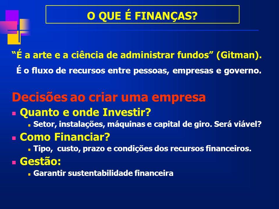 Finanças Finanças é a ciência de gerenciamento de fundos Sob o ponto de vista macro, é o estudo do fluxo de recursos entre agentes deficitários e superavitários - Sistema Financeiro.