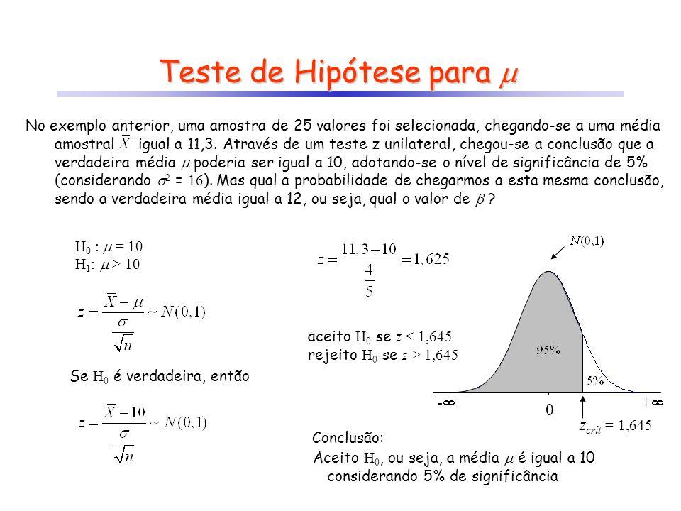 Teste de Hipótese para Teste de Hipótese para No exemplo anterior, uma amostra de 25 valores foi selecionada, chegando-se a uma média amostral igual a