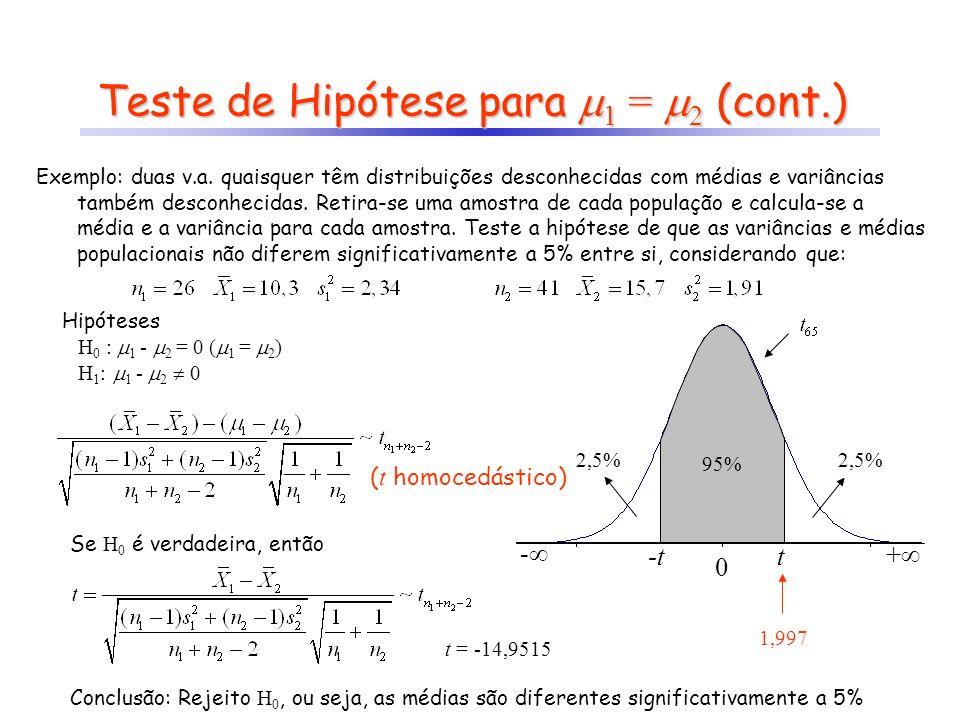 Exemplo: duas v.a. quaisquer têm distribuições desconhecidas com médias e variâncias também desconhecidas. Retira-se uma amostra de cada população e c