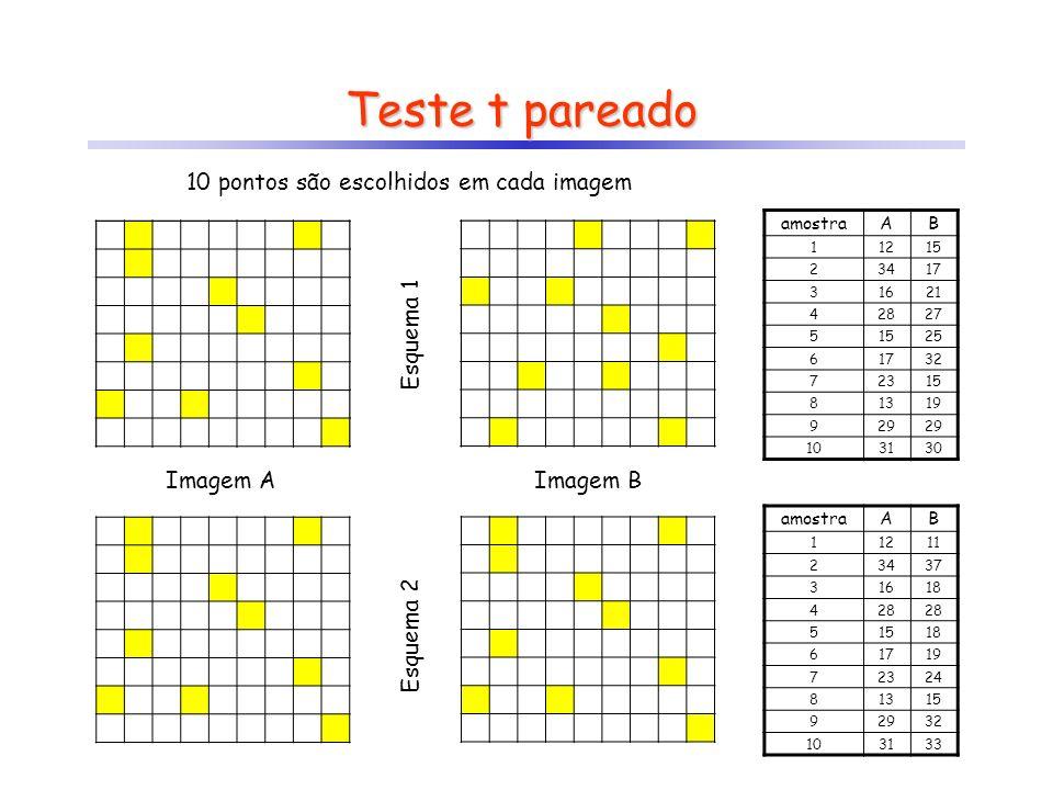 Teste t pareado 10 pontos são escolhidos em cada imagem Imagem AImagem B Esquema 1 Esquema 2 amostraAB 11215 23417 31621 42827 51525 61732 72315 81319