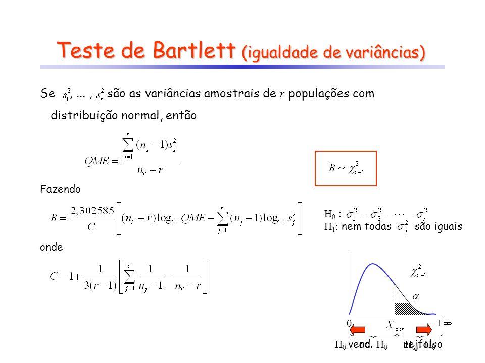 Teste de Bartlett (igualdade de variâncias) Se,..., são as variâncias amostrais de r populações com distribuição normal, então Fazendo onde 0 + H 0 ve