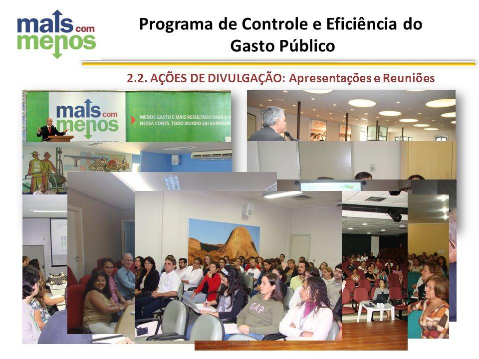 Jan/10 2.2. AÇÕES DE DIVULGAÇÃO: Apresentações e Reuniões Programa de Controle e Eficiência do Gasto Público