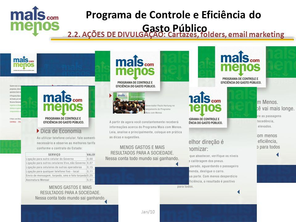 Jan/10 2.2. AÇÕES DE DIVULGAÇÃO: Cartazes, folders, email marketing Programa de Controle e Eficiência do Gasto Público