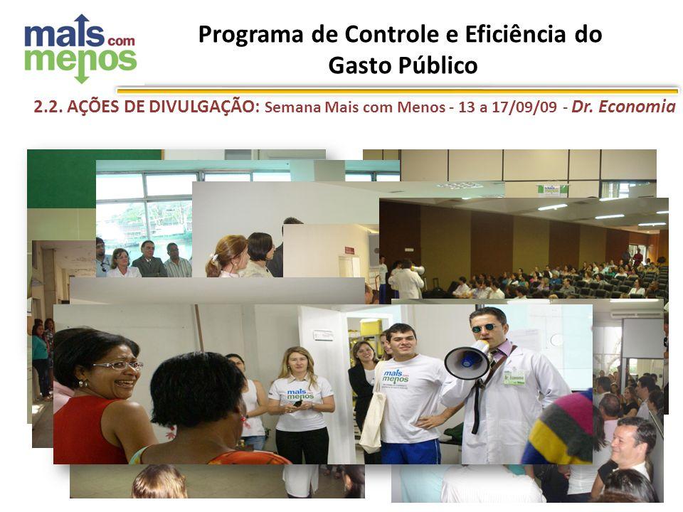 Jan/10 2.2. AÇÕES DE DIVULGAÇÃO: Semana Mais com Menos - 13 a 17/09/09 - Dr. Economia Programa de Controle e Eficiência do Gasto Público