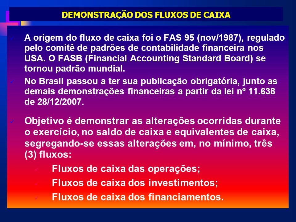 DEMONSTRAÇÃO DOS FLUXOS DE CAIXA A origem do fluxo de caixa foi o FAS 95 (nov/1987), regulado pelo comitê de padrões de contabilidade financeira nos U