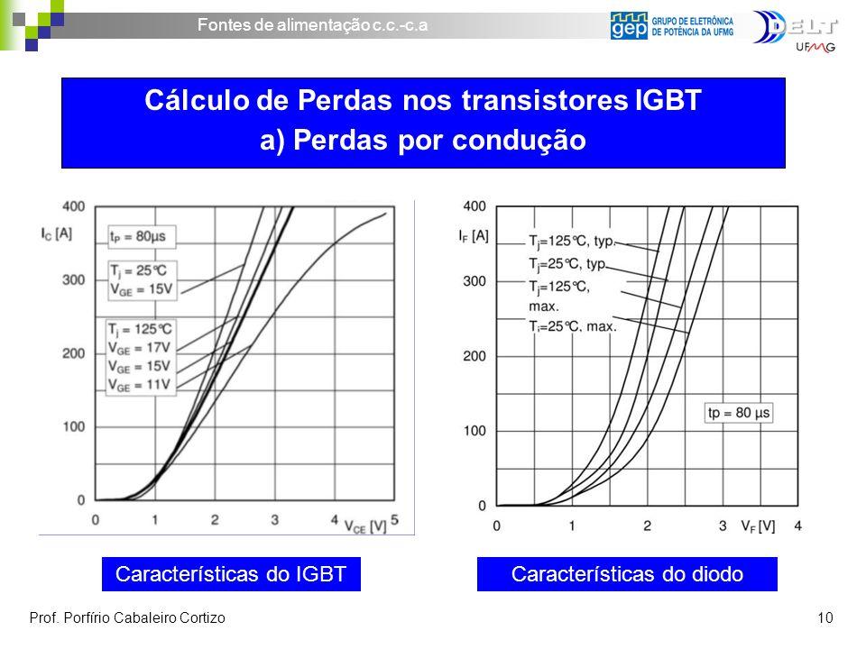 Fontes de alimentação c.c.-c.a Prof. Porfírio Cabaleiro Cortizo 10 Características do IGBTCaracterísticas do diodo Cálculo de Perdas nos transistores
