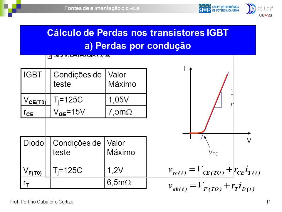Fontes de alimentação c.c.-c.a Prof. Porfírio Cabaleiro Cortizo 11 7,5m V GE =15Vr CE 1,05VT j =125CV CE(T0) Valor Máximo Condições de teste IGBT 6,5m