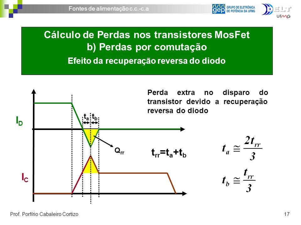 Fontes de alimentação c.c.-c.a Prof. Porfírio Cabaleiro Cortizo 17 IDID ICIC tata Cálculo de Perdas nos transistores MosFet b) Perdas por comutação Ef