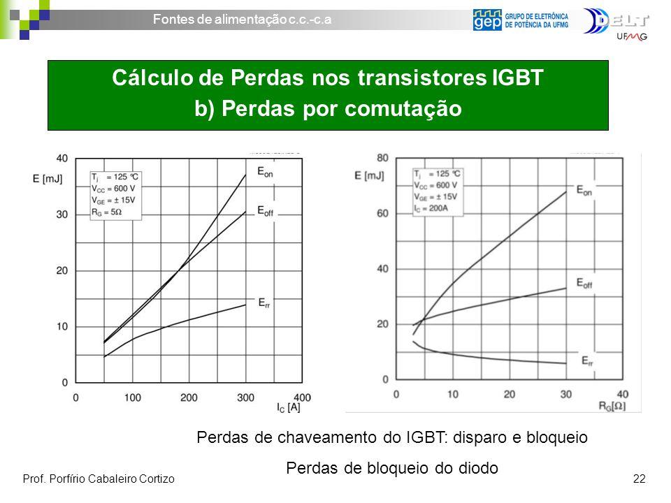 Fontes de alimentação c.c.-c.a Prof. Porfírio Cabaleiro Cortizo 22 Cálculo de Perdas nos transistores IGBT b) Perdas por comutação Perdas de chaveamen