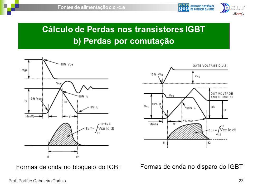 Fontes de alimentação c.c.-c.a Prof. Porfírio Cabaleiro Cortizo 23 Formas de onda no bloqueio do IGBT Cálculo de Perdas nos transistores IGBT b) Perda
