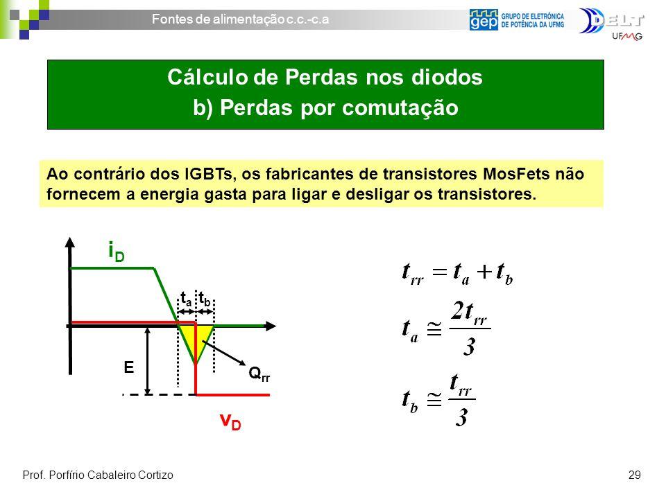 Fontes de alimentação c.c.-c.a Prof. Porfírio Cabaleiro Cortizo 29 Cálculo de Perdas nos diodos b) Perdas por comutação Ao contrário dos IGBTs, os fab