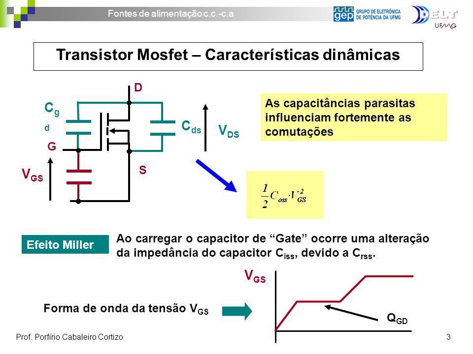 Fontes de alimentação c.c.-c.a Prof. Porfírio Cabaleiro Cortizo 3 Transistor Mosfet – Características dinâmicas As capacitâncias parasitas influenciam