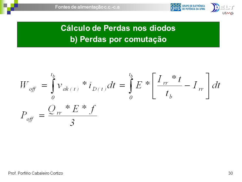 Fontes de alimentação c.c.-c.a Prof. Porfírio Cabaleiro Cortizo 30 Cálculo de Perdas nos diodos b) Perdas por comutação