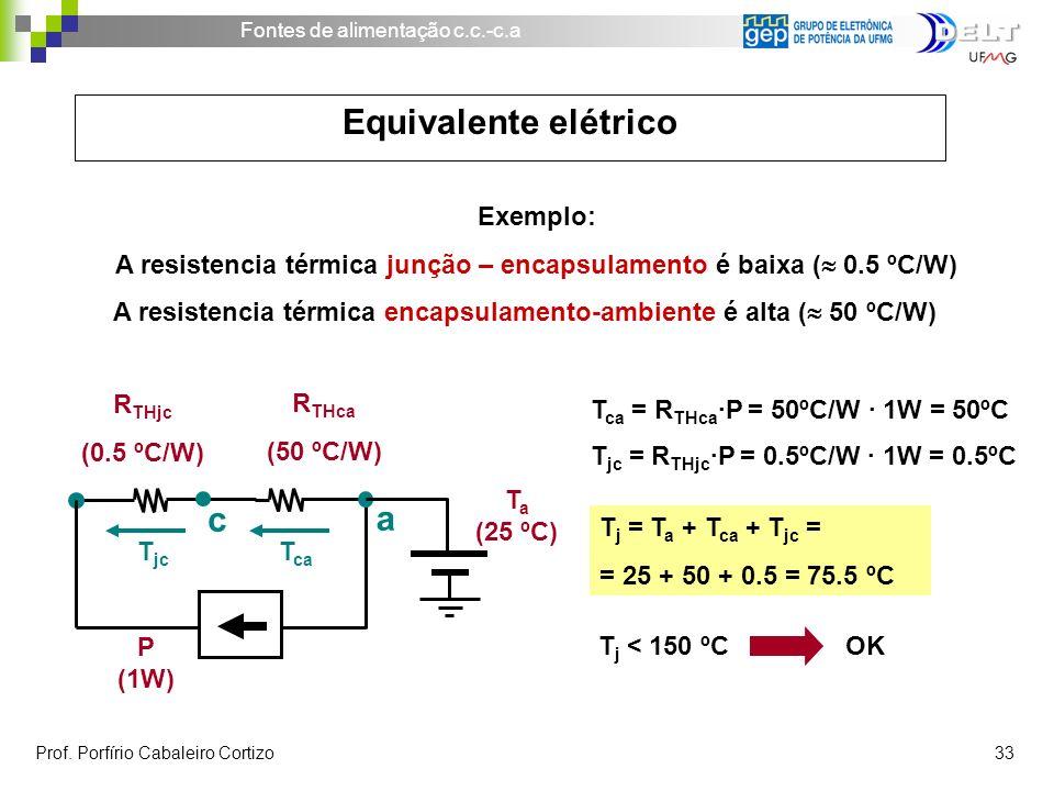 Fontes de alimentação c.c.-c.a Prof. Porfírio Cabaleiro Cortizo 33 Exemplo: A resistencia térmica junção – encapsulamento é baixa ( 0.5 ºC/W) A resist