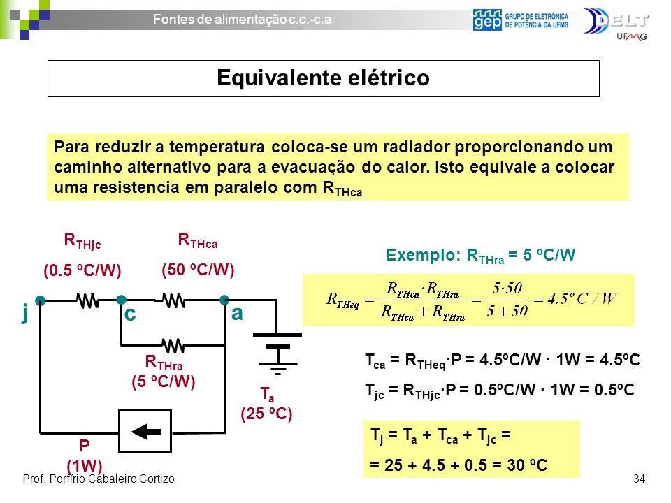 Fontes de alimentação c.c.-c.a Prof. Porfírio Cabaleiro Cortizo 34 Para reduzir a temperatura coloca-se um radiador proporcionando um caminho alternat