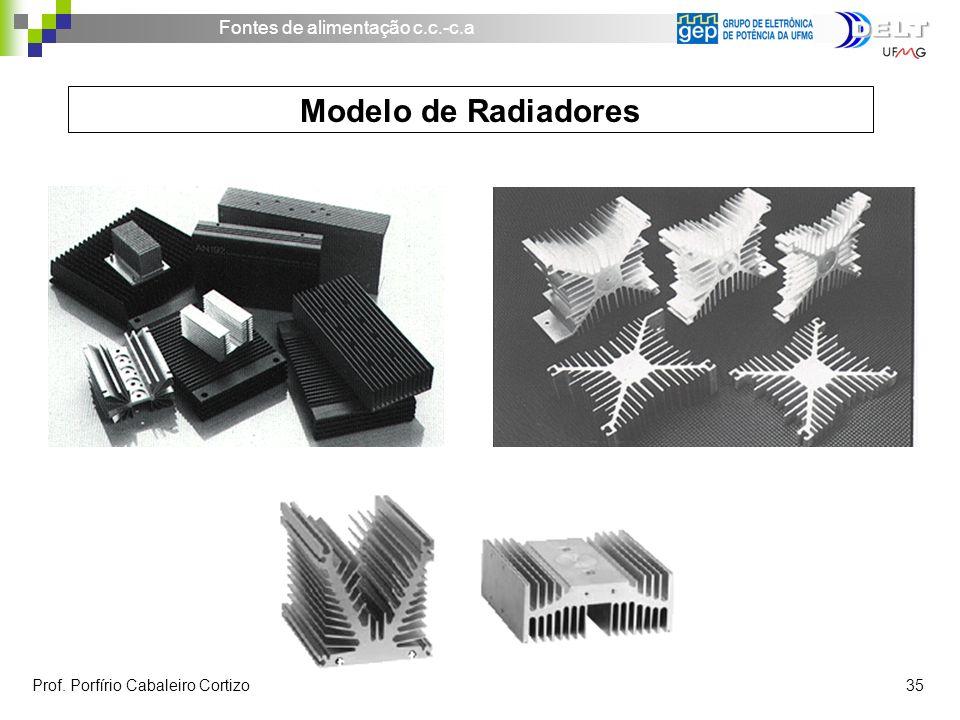 Fontes de alimentação c.c.-c.a Prof. Porfírio Cabaleiro Cortizo 35 Modelo de Radiadores