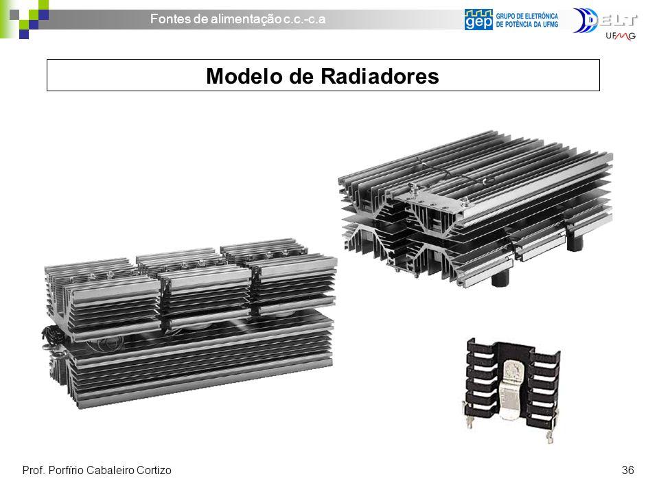Fontes de alimentação c.c.-c.a Prof. Porfírio Cabaleiro Cortizo 36 Modelo de Radiadores