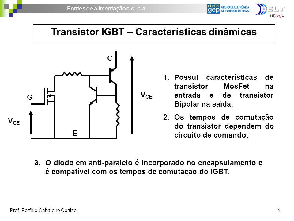 Fontes de alimentação c.c.-c.a Prof. Porfírio Cabaleiro Cortizo 4 Transistor IGBT – Características dinâmicas V GE G E C V CE 1.Possui características