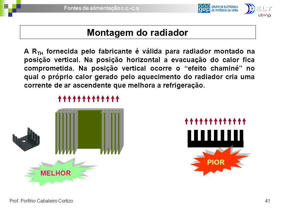 Fontes de alimentação c.c.-c.a Prof. Porfírio Cabaleiro Cortizo 41 A R TH fornecida pelo fabricante é válida para radiador montado na posição vertical