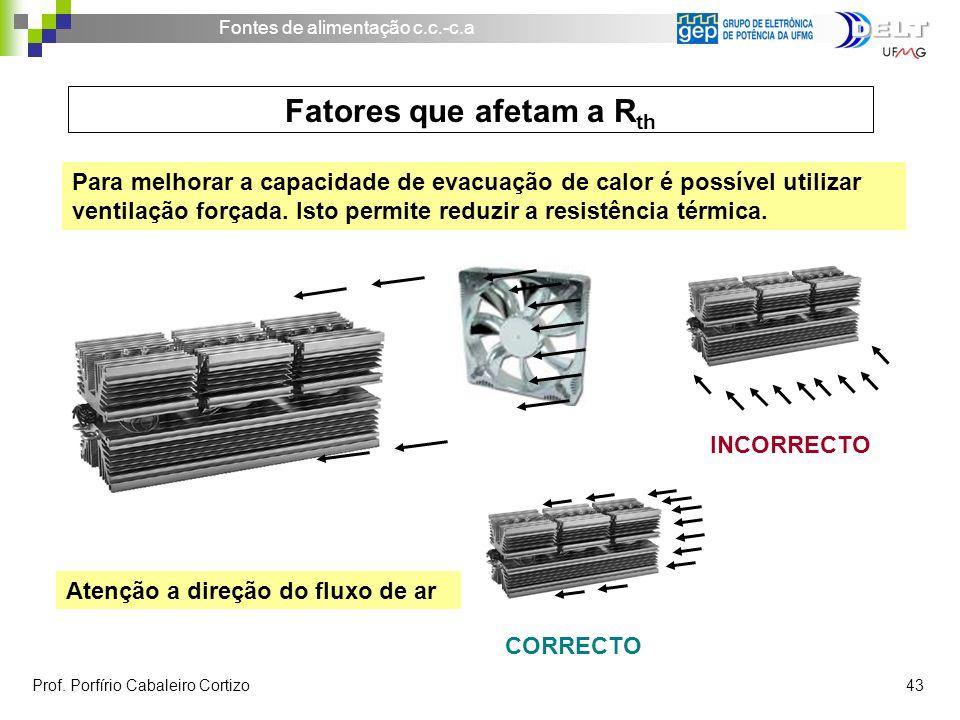Fontes de alimentação c.c.-c.a Prof. Porfírio Cabaleiro Cortizo 43 Para melhorar a capacidade de evacuação de calor é possível utilizar ventilação for