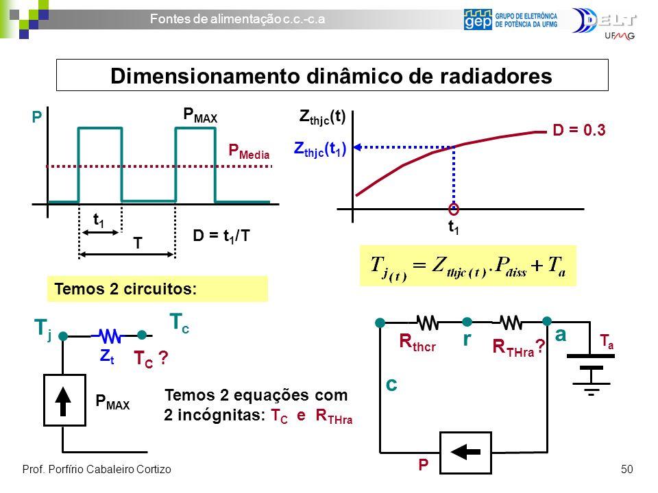 Fontes de alimentação c.c.-c.a Prof. Porfírio Cabaleiro Cortizo 50 t1t1 Z thjc (t) D = 0.3 Z thjc (t 1 ) Temos 2 circuitos: TcTc TjTj T C ? P MAX ZtZt