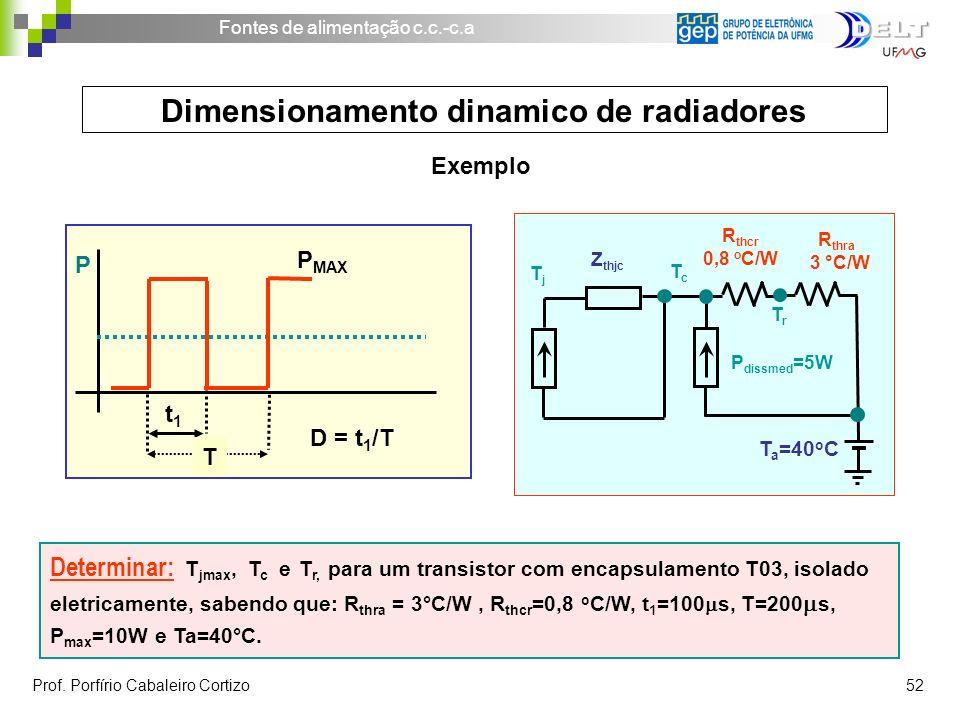 Fontes de alimentação c.c.-c.a Prof. Porfírio Cabaleiro Cortizo 52 Dimensionamento dinamico de radiadores Determinar: T jmax, T c e T r, para um trans