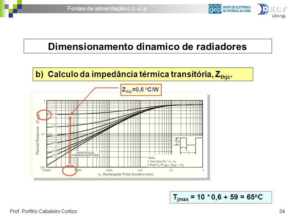 Fontes de alimentação c.c.-c.a Prof. Porfírio Cabaleiro Cortizo 54 Dimensionamento dinamico de radiadores b) Calculo da impedância térmica transitória