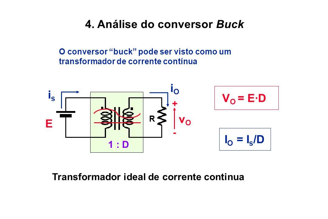4. Análise do conversor Buck O conversor buck pode ser visto como um transformador de corrente contínua V O = E·D I O = I s /D Transformador ideal de