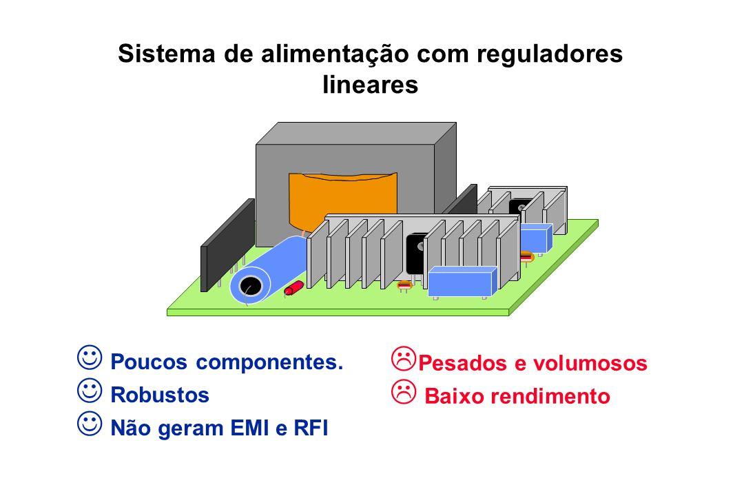 Sistema de alimentação com reguladores lineares Poucos componentes. Robustos Não geram EMI e RFI Pesados e volumosos Baixo rendimento