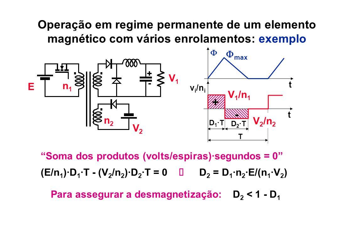 Operação em regime permanente de um elemento magnético com vários enrolamentos: exemplo Soma dos produtos (volts/espiras)·segundos = 0 (E/n 1 )·D 1 ·T
