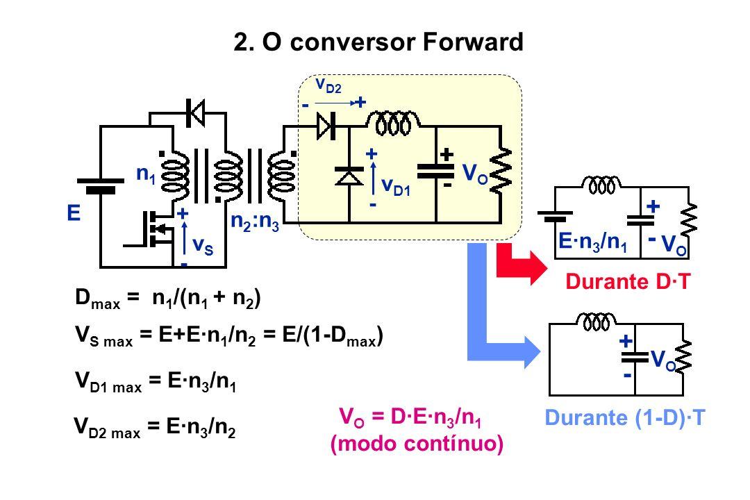 2. O conversor Forward VOVO n 2 :n 3 n1n1 + - v D2 vSvS + - v D1 + - E V S max = E+E·n 1 /n 2 = E/(1-D max ) V D1 max = E·n 3 /n 1 V D2 max = E·n 3 /n