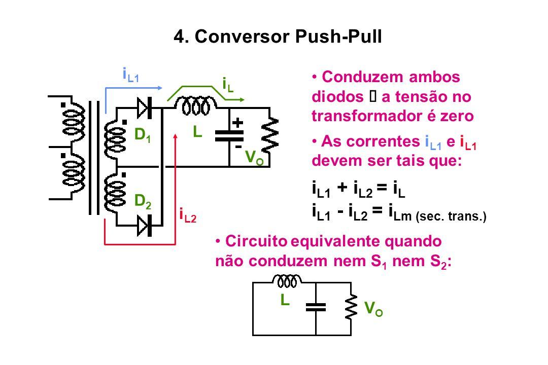 L VOVO iLiL D1D1 D2D2 i L1 i L2 Circuito equivalente quando não conduzem nem S 1 nem S 2 : Conduzem ambos diodos a tensão no transformador é zero As c