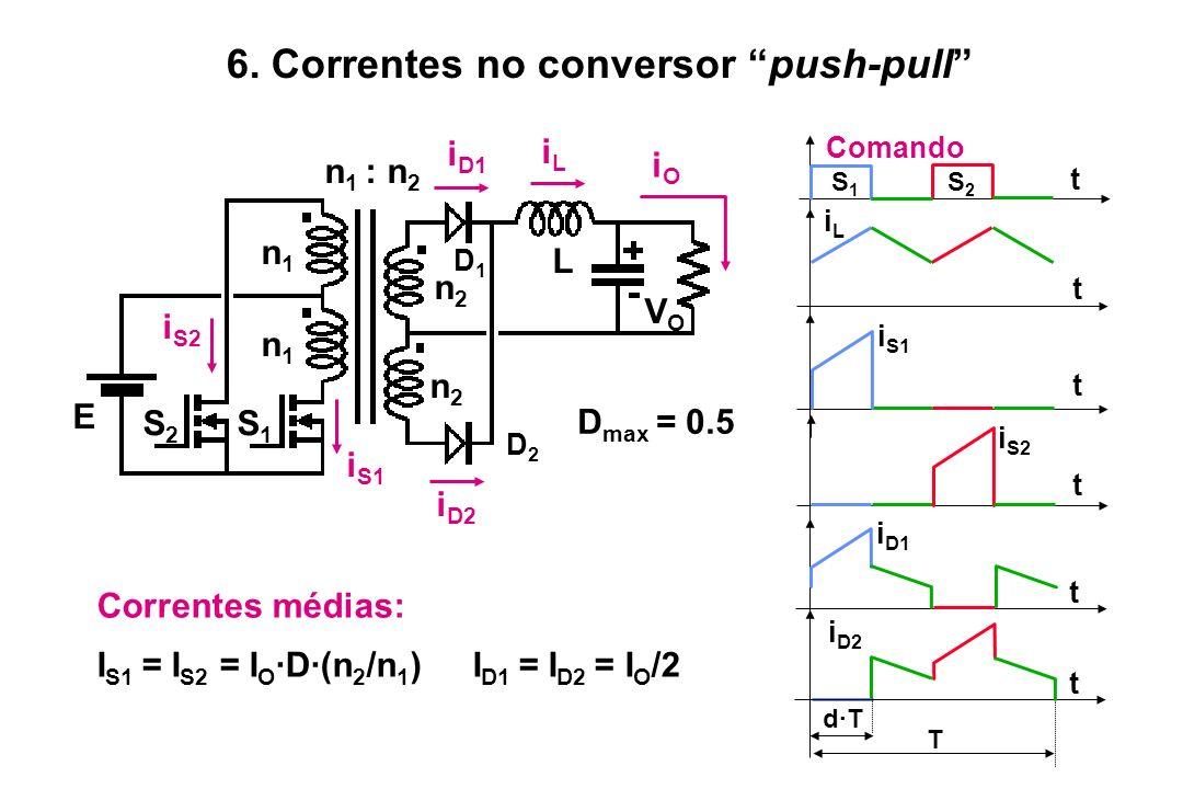 Correntes médias: I S1 = I S2 = I O ·D·(n 2 /n 1 ) I D1 = I D2 = I O /2 t t t iLiL Comando i S2 t i D1 i S1 t T d·T t i D2 S1S1 S2S2 S2S2 S1S1 n 1 : n