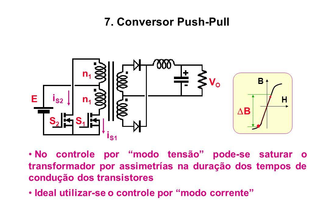 S2S2 S1S1 n1n1 n1n1 E VOVO i S1 i S2 No controle por modo tensão pode-se saturar o transformador por assimetrías na duração dos tempos de condução dos