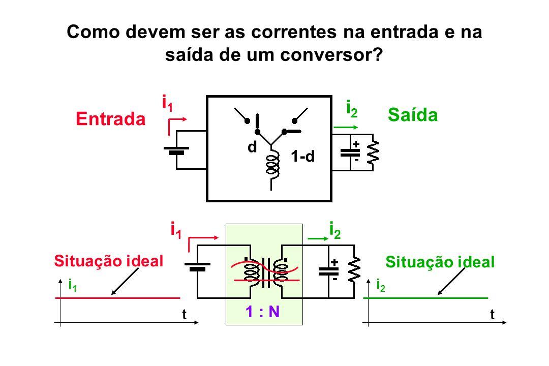 d 1-d i2i2 i1i1 Entrada Saída i2i2 i1i1 1 : N t i1i1 t i2i2 Situação ideal Como devem ser as correntes na entrada e na saída de um conversor?