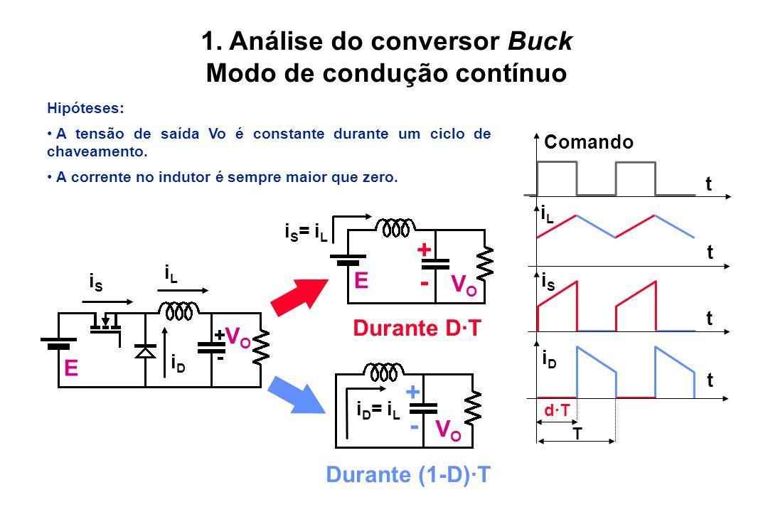 1. Análise do conversor Buck Modo de condução contínuo Hipóteses: A tensão de saída Vo é constante durante um ciclo de chaveamento. A corrente no indu