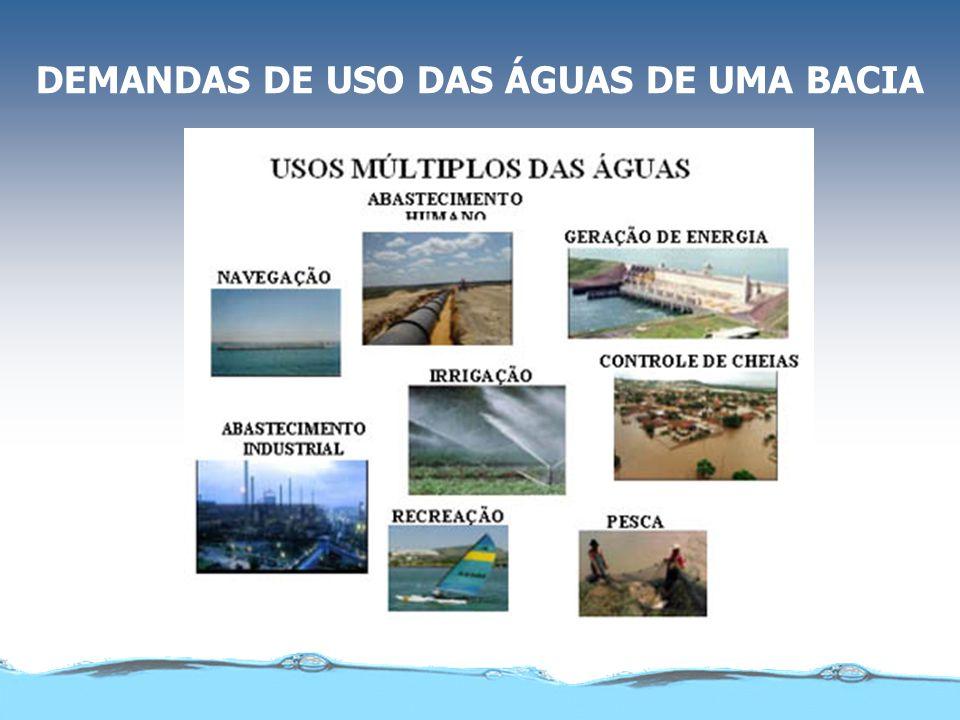 DEMANDAS DE USO DAS ÁGUAS DE UMA BACIA