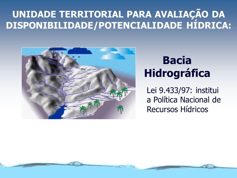 UNIDADE TERRITORIAL PARA AVALIAÇÃO DA DISPONIBILIDADE/POTENCIALIDADE HÍDRICA: Bacia Hidrográfica Lei 9.433/97: institui a Política Nacional de Recursos Hídricos