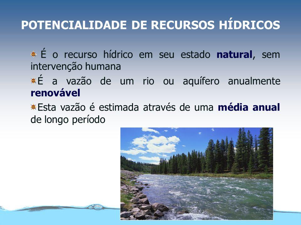 POTENCIALIDADE DE RECURSOS HÍDRICOS É o recurso hídrico em seu estado natural, sem intervenção humana É a vazão de um rio ou aquífero anualmente renovável Esta vazão é estimada através de uma média anual de longo período