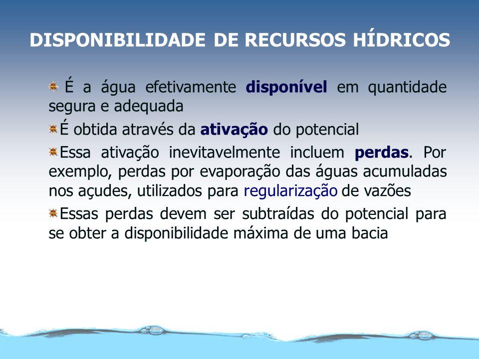 DISPONIBILIDADE DE RECURSOS HÍDRICOS É a água efetivamente disponível em quantidade segura e adequada É obtida através da ativação do potencial Essa ativação inevitavelmente incluem perdas.