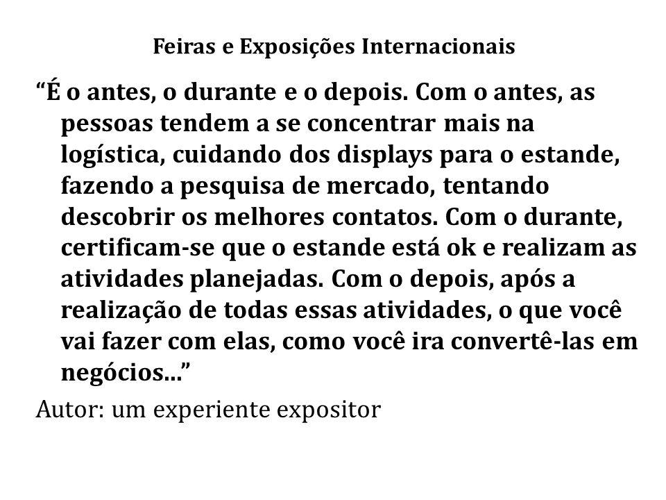Feiras e Exposições Internacionais É o antes, o durante e o depois.