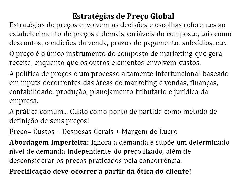 Estratégias de Preço Global Estratégias de preços envolvem as decisões e escolhas referentes ao estabelecimento de preços e demais variáveis do composto, tais como descontos, condições da venda, prazos de pagamento, subsídios, etc.