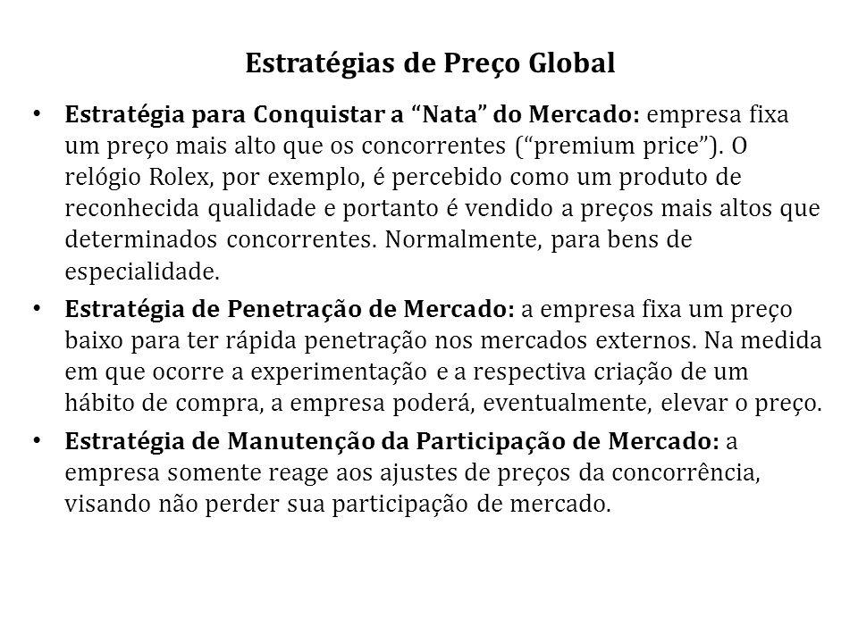 Estratégias de Preço Global Estratégia para Conquistar a Nata do Mercado: empresa fixa um preço mais alto que os concorrentes (premium price).
