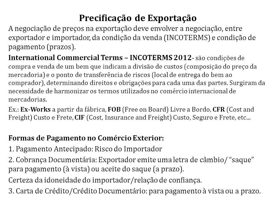 Precificação de Exportação A negociação de preços na exportação deve envolver a negociação, entre exportador e importador, da condição da venda (INCOTERMS) e condição de pagamento (prazos).