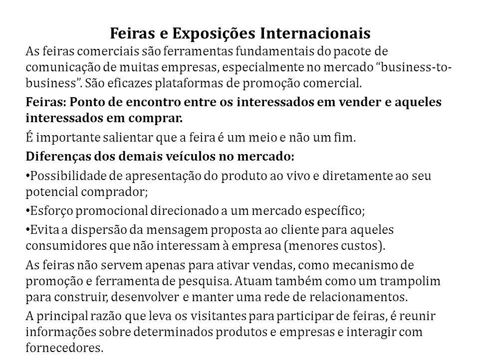 Feiras e Exposições Internacionais As feiras comerciais são ferramentas fundamentais do pacote de comunicação de muitas empresas, especialmente no mercado business-to- business.